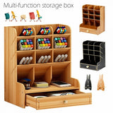 New Wooden Pen Storage Holder Container Desk Organizer Phone Stand Gifts