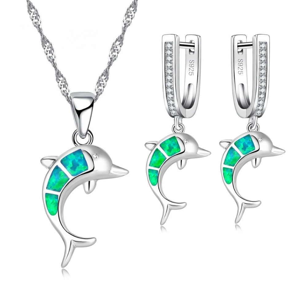 Cute 925 Sterling Silver Blue Fire Opal Dolphin Jewelry Sets For Party Accessory Women Necklace And Earring Set Jewelry