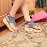 Color Matching New Sandals Women's Rocking Shoes Denim with Toe Cool Shoes Thick Bottom Muffin Zipper