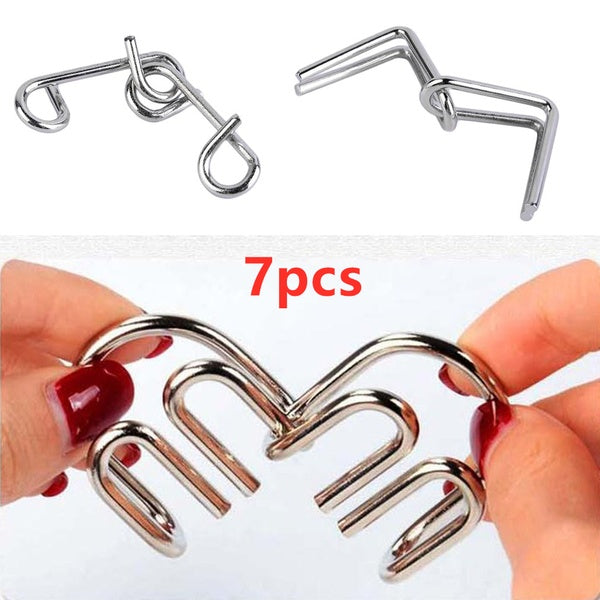 7pcs/Set IQ Test Toys Funny Mind Game Portable Brain Teaser Metal Wire Puzzles Magic Trick Compact Puzzle Ring Toy