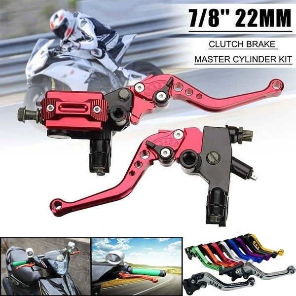 1 Pair 7/8''22mm CNC Universal Motorcycle Brake Clutch Master Cylinder Lever Cable Clutch Perch Fluid Reservoir