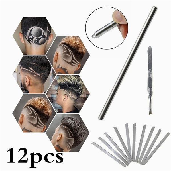 Multifunctional 12pcs/set Unisex With 10 Blades Tweezers DIY Hairstyle Hair Styling Trimmer Hair Engraving Pen