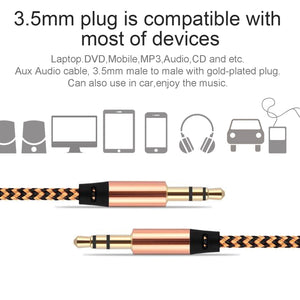 3.3Ft Nylon Braid Auxiliary Audio Cable 3.5mm Male To Male Aux Audio Cable