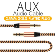 Load image into Gallery viewer, 3.3Ft Nylon Braid Auxiliary Audio Cable 3.5mm Male To Male Aux Audio Cable