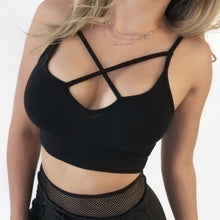 Load image into Gallery viewer, New Fashion Summer Women Sexy Bra Push Up Solid Color Crop Top Sexy Cross Bandage Casual Sleeveless Tops Gym Yoga Fashion Sport Wear
