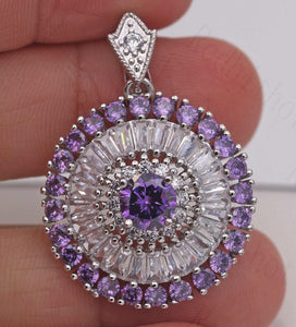 18K White Gold Filled - Huge Hollow SunFlower Circle Geometry Amethyst Topaz Gemstone Noble Pendant