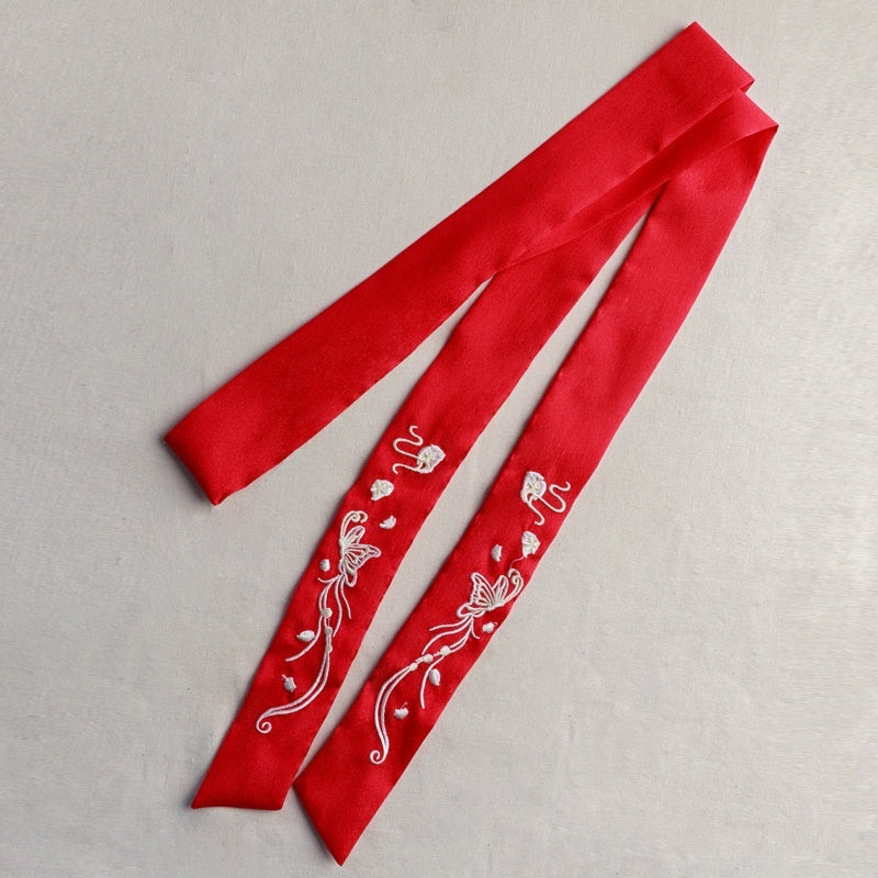 Chinese Ancient Style Embroidery Hair Band Hanfu Hair Ribbon Chiffon Hair Rope Traditional Hair Accessories