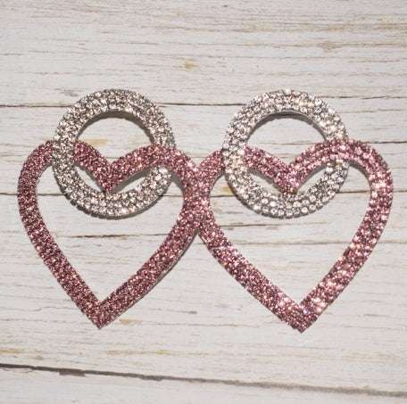 Shiny Pink White Rhinestone Double Heart Pendant Dangle Earrings for Women Jewelry Fashion Show Statement Earrings