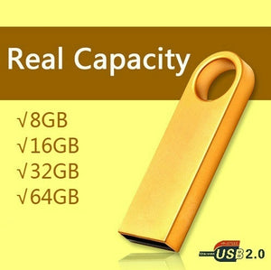 Real Capacity Metal USB Flash Drive 8GB 16GB 32GB 64GB  pen drive pendrive waterproof metal silver u disk memory disk usb 2.0