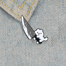 Load image into Gallery viewer, Cat Knife Enamel Pin Cute White Kitty Animal Jewelry Collar Badge Brooches Lapel Pins for Cat Lover