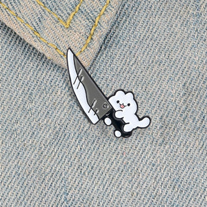 Cat Knife Enamel Pin Cute White Kitty Animal Jewelry Collar Badge Brooches Lapel Pins for Cat Lover