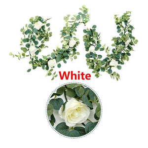 2 Colors Artificial Eucalyptus Garland Hanging Rattan Wedding Greenery Home Decor Table Centerpieces Party Decorations Hotel or Cafe Decor