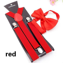 Load image into Gallery viewer, Adults Elegant Solid Color Clip-on Elasticity Suspenders Y-Shape Belt Adjustable Braces with Bow Tie Gentleman Wedding Accessories