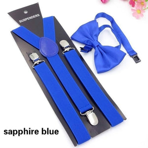 Adults Elegant Solid Color Clip-on Elasticity Suspenders Y-Shape Belt Adjustable Braces with Bow Tie Gentleman Wedding Accessories
