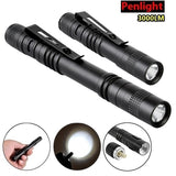 3000Lumens 9cm/13.3cm Elfeland Waterproof Mini Q5 LED Penlight Bicycle Flashlight Torch Lamp Light With Clip