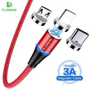 FLOVEME 3 IN 1 Magnetic Cable Micro USB Type C For iPhone Samsung 1M 3A Fast Charging Wire Magnet Charger Adapter Phone Cables