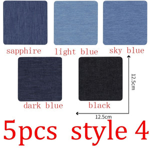 5/25 pcs Sleeve Against Jeans Patch Iron On Patches with Self Adhesive Repair Elbow Knee Denim Patches For Clothes Denim Stickers Clothing Accessories