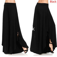 Load image into Gallery viewer, Women Pure Color High Waist Irregular Long Casual Loose Sexy Wide Leg Pants Yoga Flare Pants