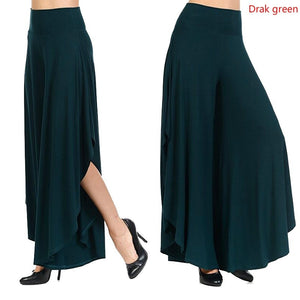 Women Pure Color High Waist Irregular Long Casual Loose Sexy Wide Leg Pants Yoga Flare Pants