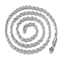 Load image into Gallery viewer, Fashion 4mm 925 Sterling Silver Twist Rope Chain Men Necklace Jewelry 16-30 Inch