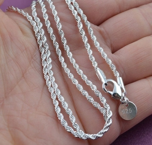 Fashion 4mm 925 Sterling Silver Twist Rope Chain Men Necklace Jewelry 16-30 Inch