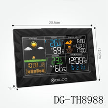 Load image into Gallery viewer, DIGOO DG-TH8868/8988 Color Screen Wireless Weather Station r¨¦veil  Wecker with 1/2/3 Outdoor Sensor Snooze Alarm Clock Temperature,Humidity, Barometer