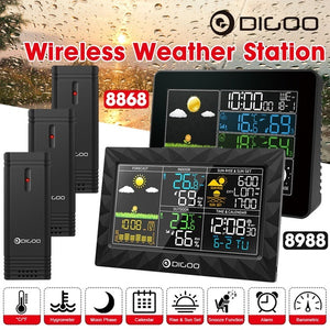 DIGOO DG-TH8868/8988 Color Screen Wireless Weather Station r¨¦veil  Wecker with 1/2/3 Outdoor Sensor Snooze Alarm Clock Temperature,Humidity, Barometer