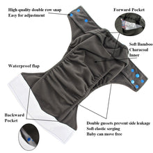 Load image into Gallery viewer, Ohbabyka Baby Cloth Diaper Washable Reusable Pocket Charcoal Bamboo Nappy
