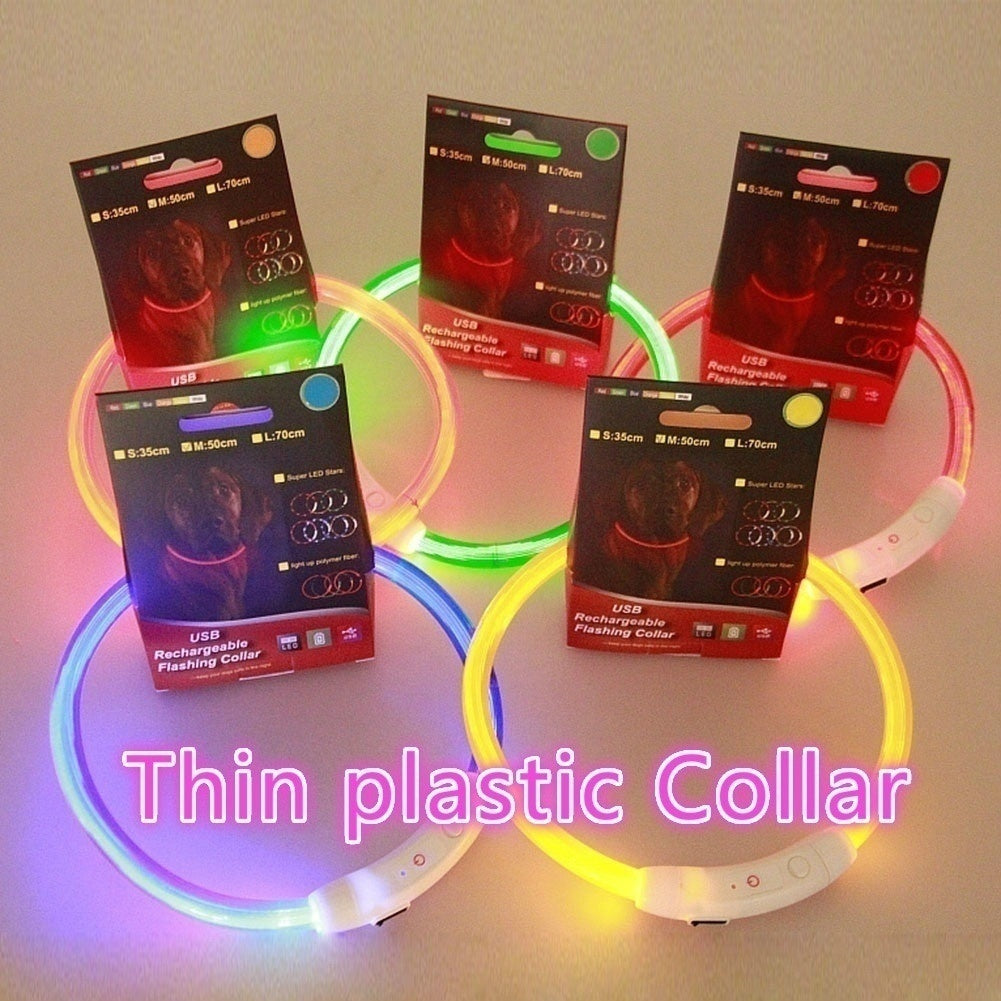 USB Safety Pet Collar For Lighted Up Nylon Solid LED Dog Collar Glow Necklace