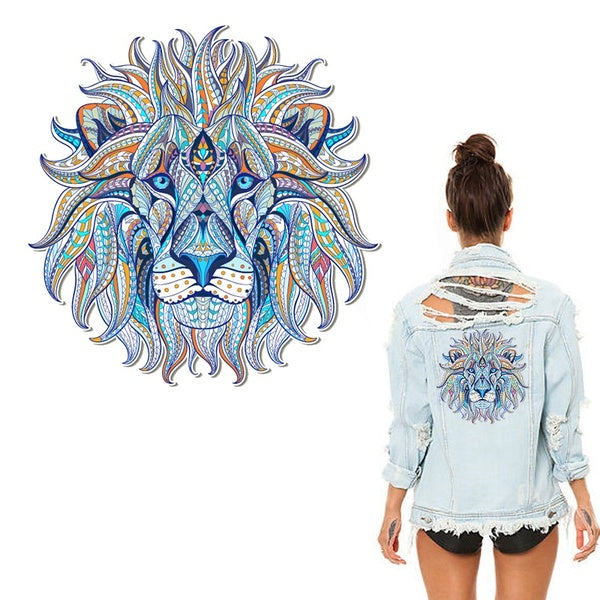 Iron on the transfer clothes patches cool 3D Lion king sticker for tops t-shirt home DIY decoration Appliqued For bag curtain
