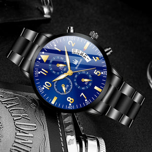 Classic Men Luxury Business Watch Calendar Stainless Steel Quartz Watch Relojes Hombre Man Fashion Casual Black Leather Watches Clock Relogio Masculino