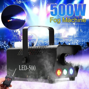 500W 0.5L RGB LED Wireless White Mist Maker Smoke Fogger Fog Dj Disco Laser Light Club Christmas Wedding Party Pub Stage Effect Smoke Machine with Remote Controlle