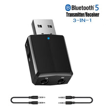 Load image into Gallery viewer, 5.0 USB Bluetooth Transmitter Receiver 3 In 1 EDR Adapter Dongle 3.5mm AUX for TV PC Headphones Home Stereo Car HIFI Audio