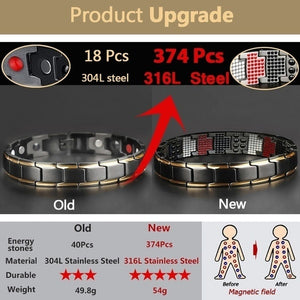 Fashion accessories 4 IN 1 Mens Health Energy Bracelet Bangle for Arthritis,with 4 Functions Far Infrared Ray, Germanium Powder, Neodymium Magnet, Stainless Steel 316L