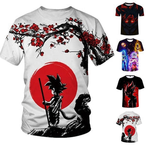 Men's Fashion Summer Short Sleeve 3D Print Dragon Ball T-Shirt Cool Anime Tops Plus Size S~5XL