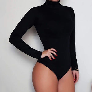 Sexy Fashion Slim Stretch Short Jumper Women Solid Color Turtle Neck Long Sleeve Jumpsuits Women Bodysuits