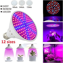 Load image into Gallery viewer, New E27 E14 36 Led 54 Led 72 Led 110V 220V Hydroponic Flower Veg Growing Lamp 3W 4W 5W Plant Grow Light