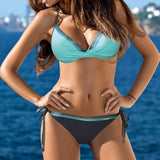 Women's Fashion Bandage Swimsuits Colorblock Bikini Sets Beachwear Fashionable Two-piece Bathing Suit with Plaster