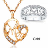 MOM Necklace and Ring Set Zircon Plated 925 Silver Jewelry Set Love Gift for Mother's Day