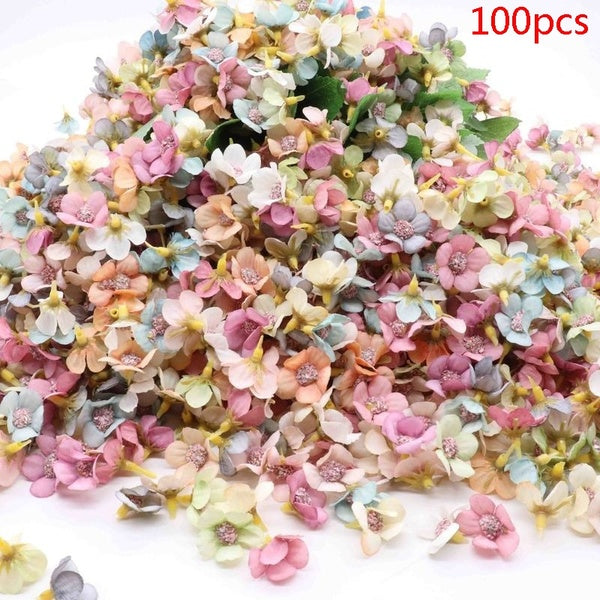 50/100pcs Multicolor fashion Daisy Flower Head Mini Silk Artificial Flower For Wedding Engagement Party Home Decor DIY Garland Headdress