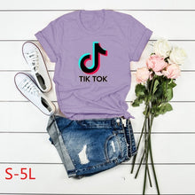 Load image into Gallery viewer, Women's New Fashion TIK TOK Letter Print Graphic Tee Shirts Casual Short Sleeve O-Neck T-shirt Ladies Basic Pullover Top Blouse Plus Size