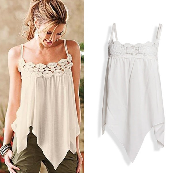 Fashion Women Silk Satin Vest Tops Sexy Sleeveless V-Neck Lace Sling Vest Tank Casual Loose Tops
