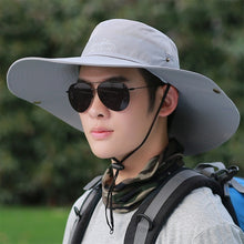 Load image into Gallery viewer, Big brim sun hat men's summer outdoor climbing sunscreen sun hat fishing anti-ultraviolet fishing fisherman hat