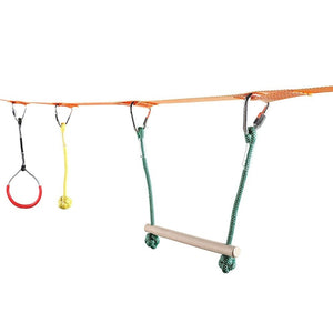 3 Colors Children's Obstacles Sling Ring Monkey Pole Set Outdoor Physical Training Combination Portable 40 Foot Slackline Bar Kit