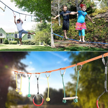 Load image into Gallery viewer, 3 Colors Children's Obstacles Sling Ring Monkey Pole Set Outdoor Physical Training Combination Portable 40 Foot Slackline Bar Kit