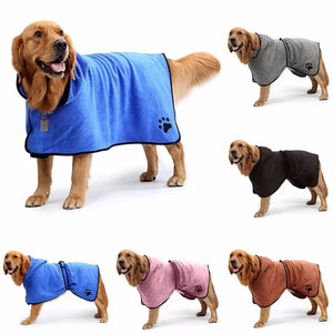 New Design Pet Dog Bathrobe Solid Color Dog Paw Print Microfiber Quickly Absorbing Water for Pet Bathing Hooded Bath Towel Plus Size