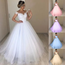Load image into Gallery viewer, Women's White Wedding Dress Elegant V-Neck Bride Dress Floral Lace Maxi Dress Floor Length High Waist Sleevelss Big Swing Gauze Dress