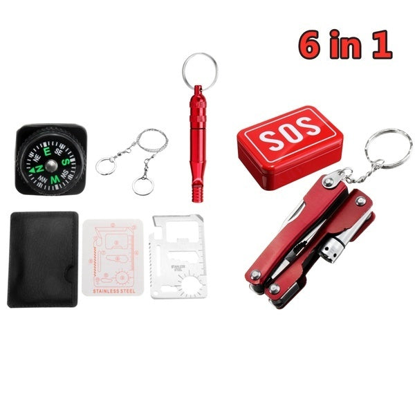 18-6 IN1 Outdoor SOS Kit Survival Gear Emergency First Aid Kit for Home Office Car Boat Camping Hiking Travel or Adventures