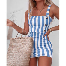 Load image into Gallery viewer, Women Vintage Vertical Striped Mini Button Cami Spring and Summer Dresses Vest Plus Size XS-8XL