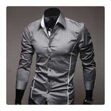 Load image into Gallery viewer, New Men Shirt Social Masculina Casual Slim Fit Mens Dress Shirts Business Long Sleeve Suit Shirt